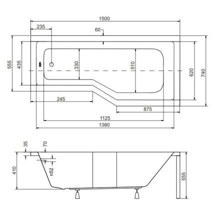 Cada baie asimetrica Besco Integra 150x75cm, acril, orientare dreapta