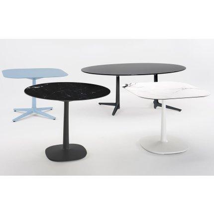 Masa rotunda Kartell Multiplo design Antonio Citterio, d78cm, h74cm, baza patrata, blat sticla, negru