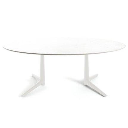 Masa Kartell Multiplo XL design Antonio Citterio, 180x90cm, h75cm, blat sticla, alb