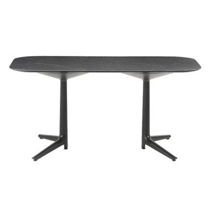 Masa Kartell Multiplo XL design Antonio Citterio, 180x90cm, h75cm, blat cu finisaj marmura, negru