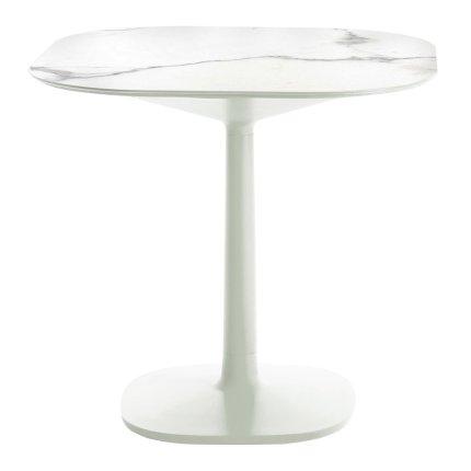 Masa Kartell Multiplo design Antonio Citterio, 78x78cm, h74cm, baza patrata, blat cu finisaj marmura, alb