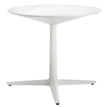 Masa rotunda Kartell Multiplo design Antonio Citterio, d78cm, h74cm, blat sticla, alb