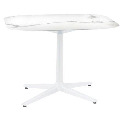 Masa Kartell Multiplo design Antonio Citterio, 99x99cm, h74cm, blat cu finisaj marmura, alb