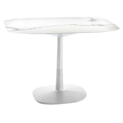 Masa Kartell Multiplo design Antonio Citterio, 99x99cm, h74cm, baza patrata, blat cu finisaj marmura, alb