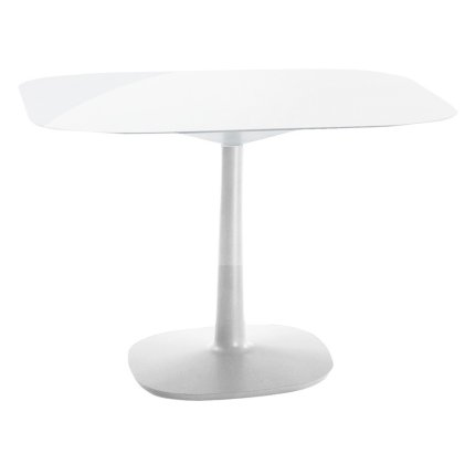 Masa Kartell Multiplo design Antonio Citterio, 99x99cm, h74cm, baza patrata, blat sticla, alb
