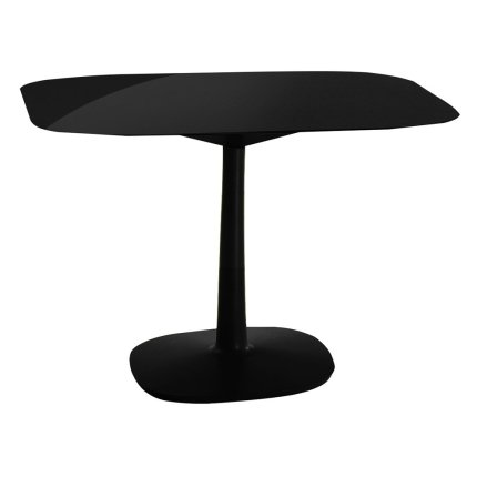 Masa Kartell Multiplo design Antonio Citterio, 99x99cm, h74cm, baza patrata, blat sticla, negru