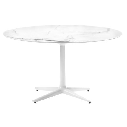 Masa rotunda Kartell Multiplo design Antonio Citterio, d118cm, h74cm, blat cu finisaj marmura, alb