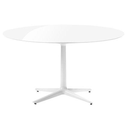 Masa rotunda Kartell Multiplo design Antonio Citterio, d118cm, h74cm, blat sticla, alb