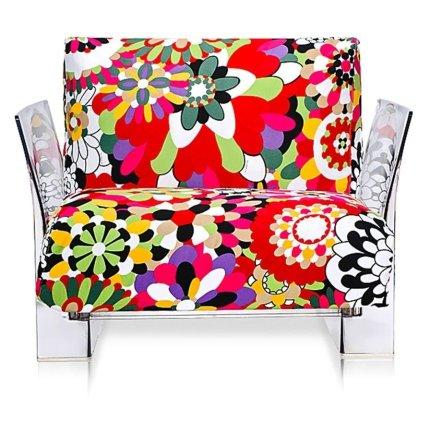 Fotoliu Kartell Pop design Piero Lissoni & Carlo Tamborini, cadru transparent, tapiterie Missoni, Vevey rosu