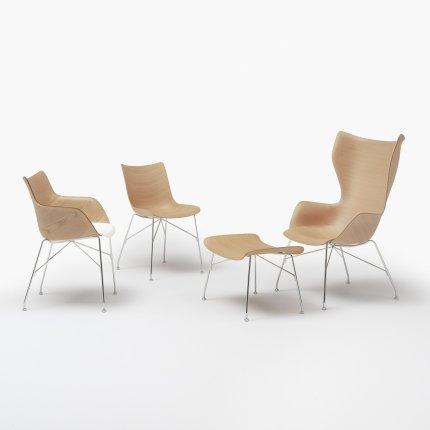 Scaun Kartell Smart Wood Q/Wood design Philippe Stark, Basic Veneer, Light wood - sezut alb, picioare crom