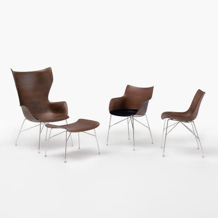 Taburet Kartell Smart Wood S/Wood design Philippe Stark, Basic Veneer, Dark wood, picioare crom