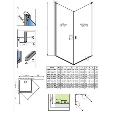 Usa batanta cabina Radaway Nes KDD I 80cm, orientare stanga