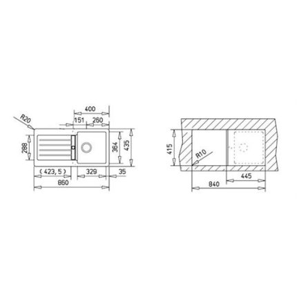 Chiuveta bucatarie tegranit Teka Kea 45B TG 1B 1D, 860x435mm, Schwarzmetallic