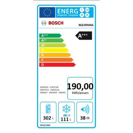 Combina frigorifica Bosch KGE49VI4A Serie 4, Low Frost, 413 litri net, Clasa A+++, usi Inox EasyClean