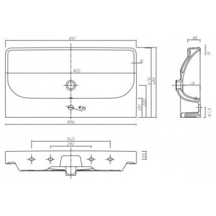 Lavoar Kolo Traffic 90cm, glazura reflex, montare pe mobilier