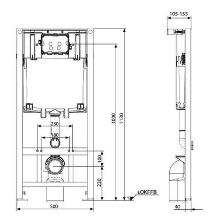 Set vas WC suspendat Kolo Idol M13100 cu rezervor si cadru incastrat Kolo Slim 2