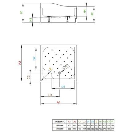 Cadita dus inalta dreptunghiulara Radaway Korfu C 80x80x37cm cu panouri