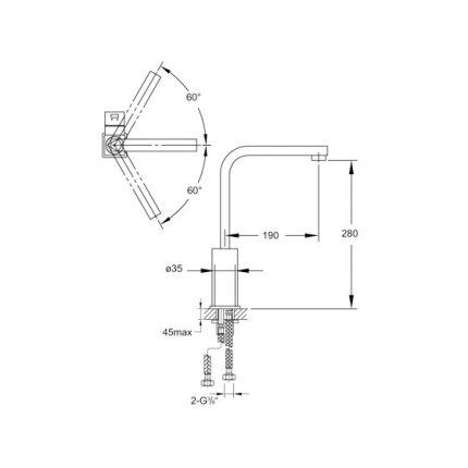 Baterie bucatarie Steinberg Sensuality seria 120 cu pipa rotativa