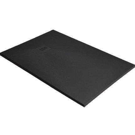 Cadita dus dreptunghiulara slim Radaway Kyntos F 140x80x3cm, marmura, negru