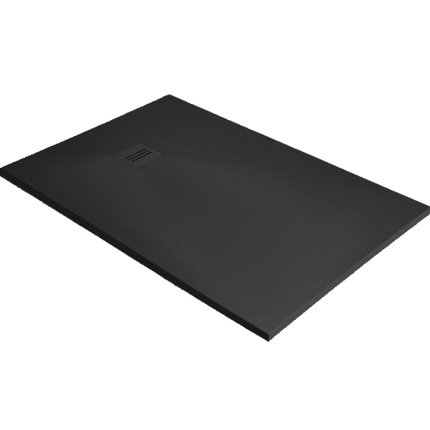 Cadita dus dreptunghiulara slim Radaway Kyntos F 160x80x3cm, marmura, negru