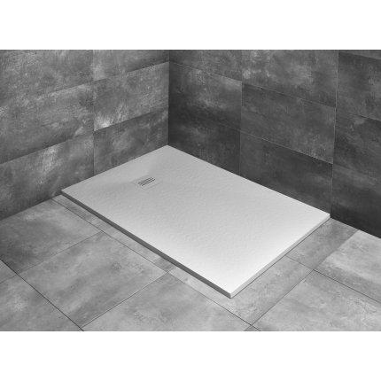 Cadita dus dreptunghiulara slim Radaway Kyntos F 150x80x3cm, marmura, alb