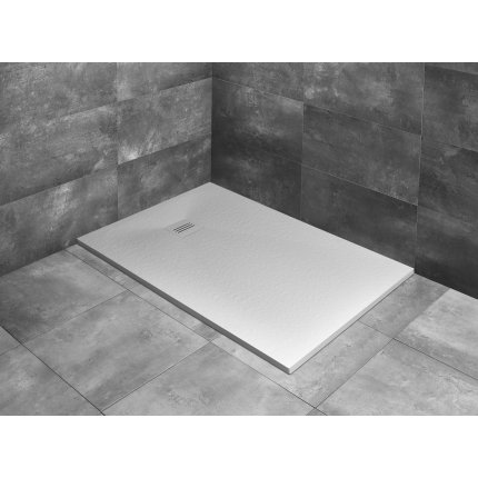 Cadita dus dreptunghiulara slim Radaway Kyntos F 210x80x3cm, marmura, alb