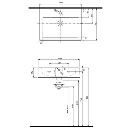 Lavoar Kolo Twins 60x46cm, montare pe mobilier