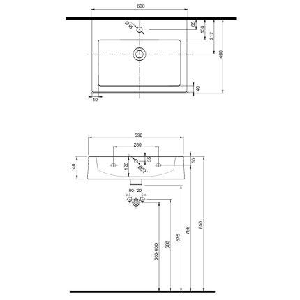 Lavoar Kolo Twins 60x46cm, montare pe mobilier, glazura Reflex