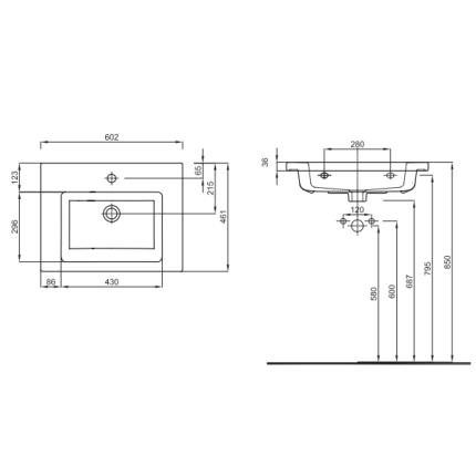 Lavoar Kolo Twins 60x46cm, montare pe mobilier, margine subtire