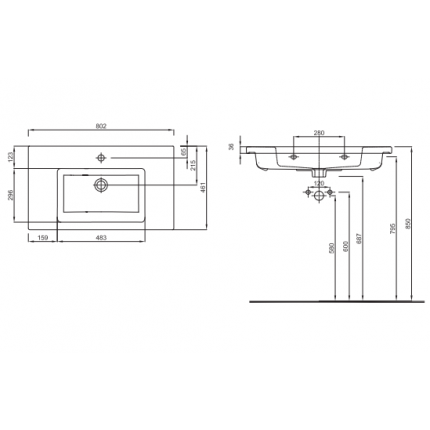 Lavoar Kolo Twins 80x46cm, montare pe mobilier, margine subtire