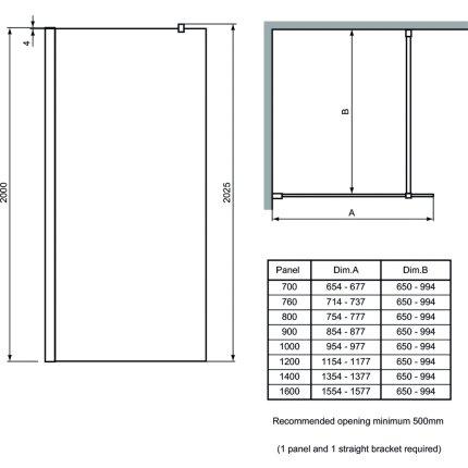Cabina de dus tip Walk-in Ideal Standard Synergy 70cm, sticla securizata si tratata anticalcar 8mm