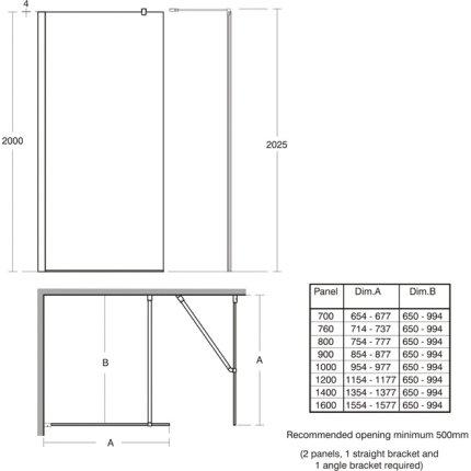 Consola de fixare Ideal Standard 100cm pentru cabine de dus Walk-in Synergy