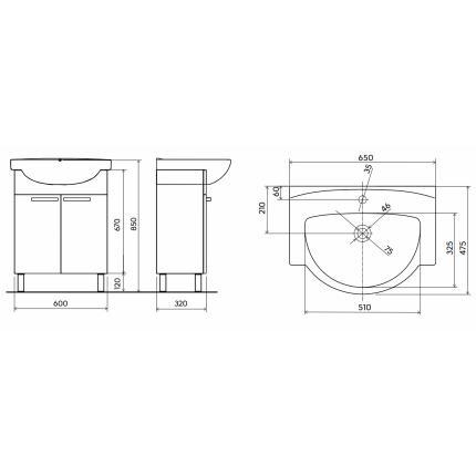 Set mobilier Kolo Freja 65cm, lavoar si dulap baza cu doua usi, alb lucios