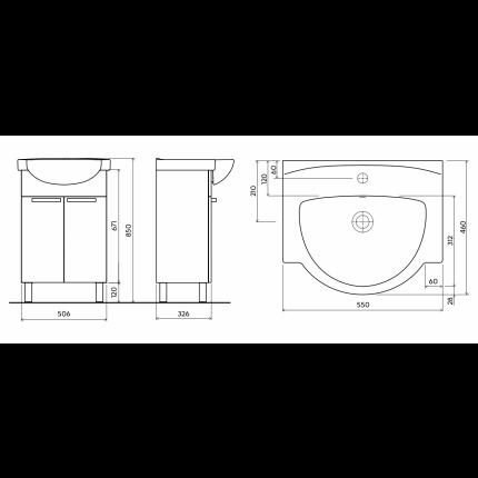Set mobilier Kolo Freja 55cm, lavoar si dulap baza cu doua usi, alb lucios