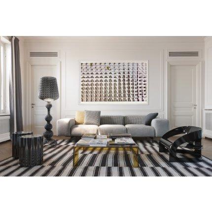 Canapea Kartell Largo design Piero Lissoni, cadru metalic, husa detasabila Houndstooth, negru