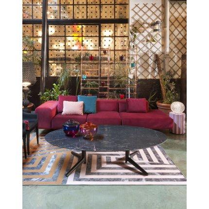 Canapea Kartell Largo Velluto design Piero Lissoni cu 3 locuri, brat dreapta, 298cm, rosu cardinal