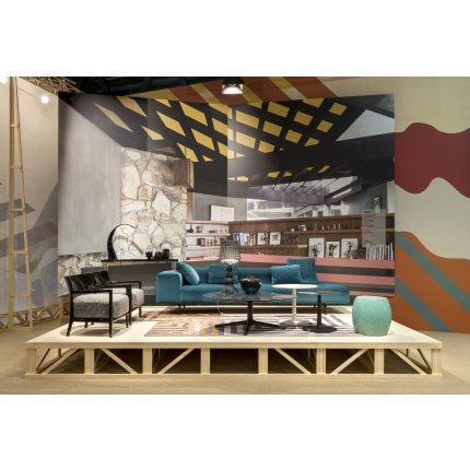 Canapea Kartell Largo Velluto design Piero Lissoni cu doua locuri, doua brate, 226cm, verde padure