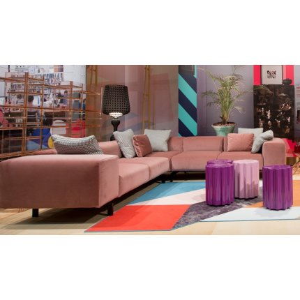Canapea Kartell Largo Velluto design Piero Lissoni cu doua locuri, doua brate, 226cm, roz