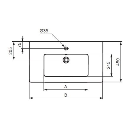 Lavoar Ideal Standard Tempo 80cm, montare pe mobilier