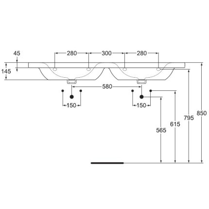 Lavoar dublu Ideal Standard Connect Vanity 130x49cm