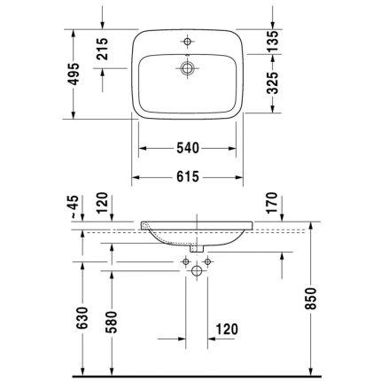 Lavoar Duravit DuraStyle 61.5cm, montare in blat