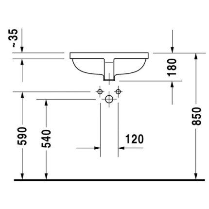 Lavoar Duravit Starck 3 49cm, fara orificiu baterie, montare in blat