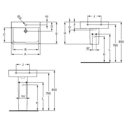 Lavoar Ideal Standard Connect Cube 65cm
