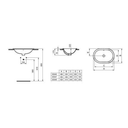 Lavoar Ideal Standard Connect Oval 62x41cm, fara orificiu baterie, montare in blat