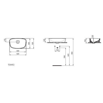 Lavoar Ideal Standard Vessel Dea 52x32cm
