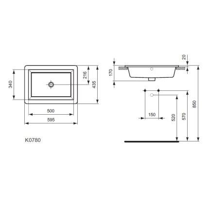 Lavoar Ideal Standard Strada 59cm, montare in blat