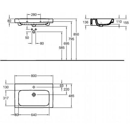 Lavoar Kolo Modo 80cm, montare pe mobilier
