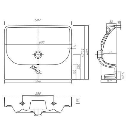 Lavoar Kolo Traffic 60cm, montare pe mobilier