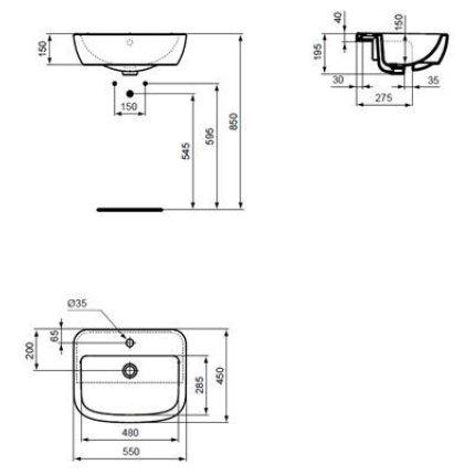 Lavoar Ideal Standard Tempo 55cm, montare in blat