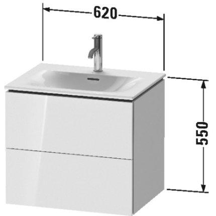 Dulap baza suspendat Duravit L-Cube 620x481mm, cu doua sertare, verde jad lucios lacuit